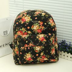 floral backpacks for teenage girls.Canvas bag student school bag preppy style vintage floral print cloth backpack casual female bags  #girls  #backpacks  #fashion   www.loveitsomuch.com