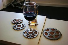 Bicycle Gear Cog Coasters - I am going to make these(via Cycle Style - Pinterest)