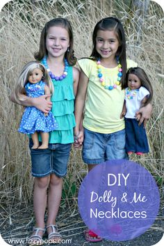 DIY Dolly & Me Necklaces. Visit www.fizzypops.com for supplies and tutorials.
