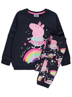 Official Licensed Girls Peppa Pig 2 Piece Set Hat Mittens Age 2-5 Years Purple Snow Much Fun Design