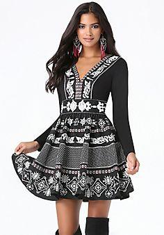 Embroidered Taffeta Dress