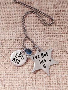 I've got his 6-hand stamped jewelry- police wife- police jewelry- deputy sheriff- sheriff-LEO-Thin blue line- deputy sheriff wife- by ChristinesImpression on Etsy https://www.etsy.com/listing/203637862/ive-got-his-6-hand-stamped-jewelry