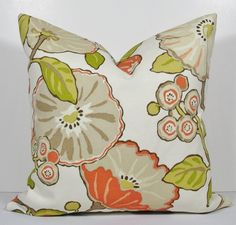 Gorgeous Modern Floral Pillow - Decorative Pillow Cover - Indoor/Outdoor - Throw pillow - green - orange - taupe