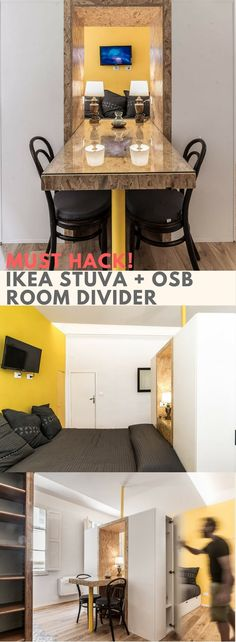 Take a look at this fabulous room divider that merges the dining table, closets, bedboard, bedside tables into one cohesive hub. http://www.ikeahackers.net/2017/08/taac-ikea-room-divider-stuva.html