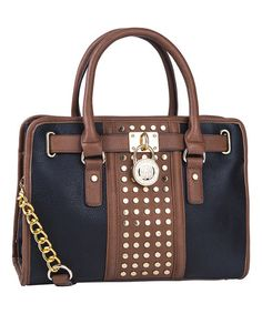 Another great find on #zulily! Black Studded Lock-Accent Satchel by MKF Collection #zulilyfinds
