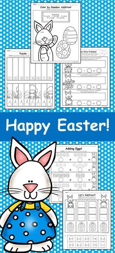 Easter Themed Color by the Code Kindergarten Math Worksheets ...