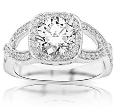 1.2 Carat Round Cut / Shape GIA Certified Contemporary Vintage Halo Engagement Ring ( I Color , VS2 Clarity )...