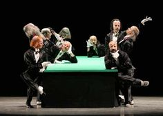 """""""It opens with a group of diplomats (the Gentlemen in Black) having a discussion around a rectangular table covered with a green cloth. They end up pulling guns from their pockets and shooting in the air, thus symbolizing the declaration of war. Funny Dance, Dance Humor, Dance Of Death, Green Table, Ballet, Dance Photos, Gentleman, Guns, Characters"""
