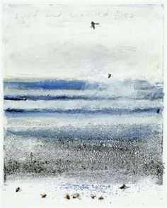 Kurt Jackson Surf and seaweed flies 28 x 24 cm mixed media, collage and etching