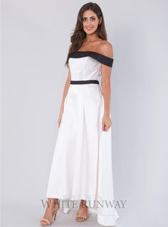 Darcy Dress. A beautiful hi-lo dress by Tinaholy. An off shoulder style featuring a straight neckline and flared skirt.
