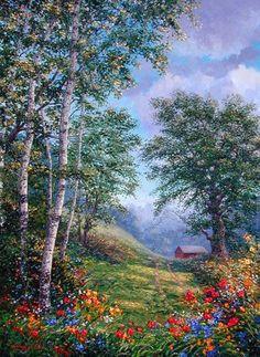 Green Hills by Schaefer/Miles Beautiful Paintings, Beautiful Landscapes, Landscape Art, Landscape Paintings, West Art, Pictures To Paint, Art Pictures, New Artists, Oeuvre D'art