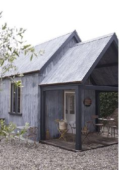 small house by river built by students Restaurant Visit: Tin Tabernacle Tearoom: Remodelista. I would not make a Tearoom, but I could renovate the shabin into a extra sleeping area with an outdoor sitting area! Houses Architecture, Architecture Design, Sustainable Architecture, Residential Architecture, Contemporary Architecture, Haus Am See, Exterior, Cabins And Cottages, Small Cottages