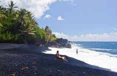 A black sand beach on Hawaii's Big Island.