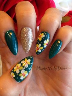 Spring nail art with Floral design on stiletto nails