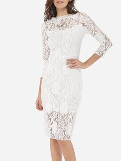 Crew Neck Lace Hollow Out Lace Plain Bodycon-dress Only $19.95 USD More info...