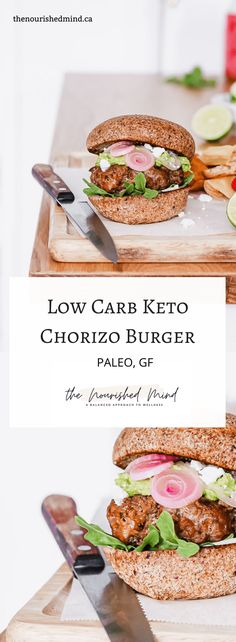 This delicious and easy to make chorizo burger is paleo, keto and low-carb! Made with fresh sausage and topped with guacamole, feta and pickled onions, this is sure to be a summer staple! | The Nourished Mind Grilling Recipes, Lunch Recipes, Summer Recipes, Beef Recipes, Low Carb Recipes, Breakfast Recipes, Dinner Recipes, Sandwich Recipes, Healthy Recipes