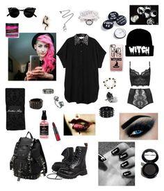 """witch"" by lailamonsterbunny on Polyvore featuring moda, Pamela Love, Fashionology, Jonathan Aston, Monki, Bolongaro Trevor, Boohoo, Rimmel, Manic Panic NYC y Casetify"