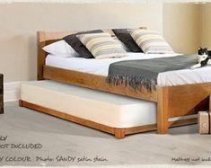 GUEST - Lit gigogne / double / contemporain / en bois by Get Laid Beds Low Wooden Bed Frame, Low Bed Frame, Bed Frame Sizes, Bed Sizes, Low Platform Bed Frame, Low Loft Beds, Pull Out Bed, Futon Bed, Wood Beds