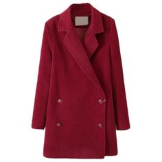 Vintage Double Breasted Plain Woolen Long Coat ($39) ❤ liked on Polyvore featuring outerwear, coats, beautifulhalo, longline coat, red wool coat, vintage coat, red coat and long woolen coats