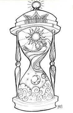 Hourglass small art print day in the night, night in the day. Tijd i . - Hourglass small art print Day in the night, night in the day. Tijd is relieved. I think - Adult Coloring Book Pages, Coloring Books, Colouring Pages For Adults, Zentangle, Datum Tattoo, Geometric Tatto, Desenho Tattoo, Art Drawings Sketches, Pencil Drawings