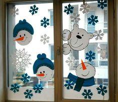 DIY Window Decor Ideas For Christmas - Weihnachten Decoration Creche, Christmas Window Decorations, Snowman Decorations, School Decorations, Christmas Love, Christmas Crafts, Xmas, Christmas Design, Merry Christmas