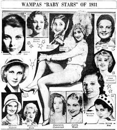 1931 WAMPAS Baby Stars Constance Cummings, Frances Dade, Sidney Fox, Anita Louise, Frances Dee, Judith Wood, Rochelle Hudson, Joan Marsh, Karen Morley, Marian Marsh, Marion Shilling, Barbara Weeks. Baby Star Joan Blondell does not appear in this photo, though she is in the video below.