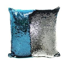 Mermaid Decor Cushion Pillow Cover 15751575 Pillowcase Child DIY Draw and Write  Creative Christmas Gift BlueSliver ** You can get additional details at the image link.