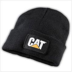 Caterpillar CAT Black Knit Cuff Winter Trucker Patch Beanie Cap e61a8f1aa20c