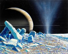 Eruption on Saturns moon Enceladus based on discoveries by Cassini spacecraft by Bill Hartmann