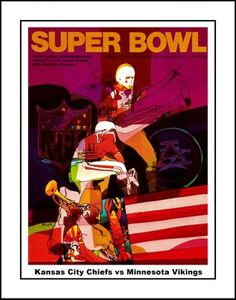 Vintage Super Bowl IV Program Art Poster, Kansas City Chiefs vs Minnesota Vikings. Great gift for any Chiefs fan. This ready-to-frame poster is printed to order on heavyweight satin photo paper. Buy with confidence. I stand behind everything I sell. If you are not satisfied please contact me, so I can resolve your unmet expectations. Football Wall, Nfl Pro, Minnesota Vikings, Kansas City Chiefs, Order Prints, Confidence, Satin, Wall Art