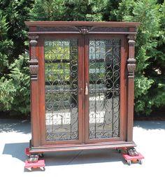 Tiger Oak Victorian Bookcase Display Cabinet wFancy Iron Doors & Paw Feet & Key #Victorian