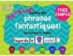 Phrases fantastiques - Les animaux en couleur FREEBIE (FREE French predictable sentences - animals/colours)