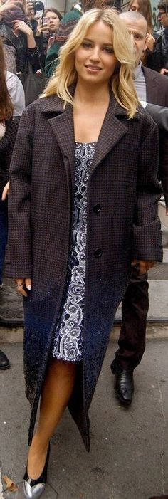 Who made Dianna Agron's blue print dress and coat that she wore in Paris?