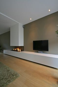 Minimalist Living Room Design Ideas With The Fireplace Living Room Decor Cozy, Living Room Tv, Interior Design Living Room, Home And Living, Living Room Designs, Home Fireplace, Modern Fireplace, Living Room With Fireplace, Fireplace Design