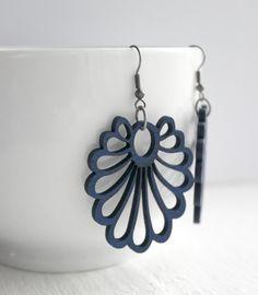 Large Navy Blue Wood Cut-Out Fan Earrings by belleonabudget, $7.00