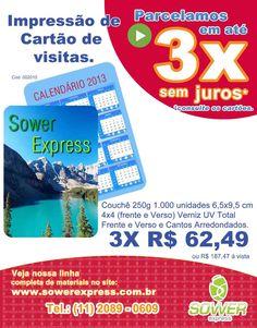 Dica Sower Express: Impressão e Criação de Calendário de bolso para 2013. Tudo em 3X sem juros.  www.sowerexpress.com.br