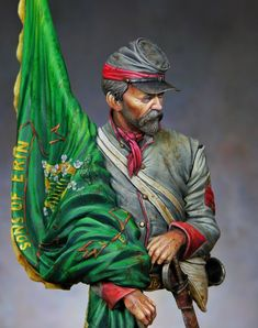 Tennessee Flag Bearer, Irish Brigade, ACW (Kit by Stormtroopers) by Ernesto Reyes, Venezulea Confederate Monuments, Confederate States Of America, Tennessee Flag, Mexican Army, Civil War Art, Samurai, Flag Art, Military Figures, American Civil War