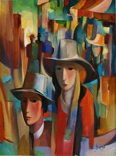 """Diego Voci: Max Private Collection. One of the first great European City's we visited was Paris. """"Dans LaRue"""" is the Diego oil painting which helps to keep those memories of """"the City of Love"""" alive current. It's simple beauty, coupled with the complexity of form strikes you at every level (just like Paris itself) with it's eloquent yet subtle depictions of it's people. The combination of people, structure the energy of being """"in the streets"""" make it one of our favorite paintings. 2.14.1976"""