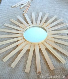 diy sunburst mirror, crafts, in process Sun Mirror, Mirror Art, Mirror Crafts, Mirror Ideas, Thrifty Decor, Diy Home Decor, Starburst Mirror, Mirror Makeover, Auction Projects