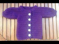 Tejer chaqueta de bebe a croché - Parte 1, parte trasera con subtitulo de BerlinCrochet - YouTube