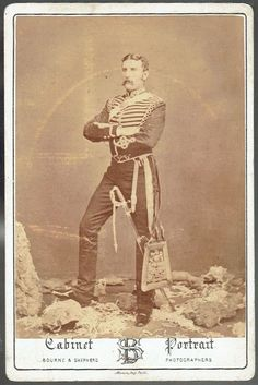 Royal Artillery Officer, full dress with Sabretache - Superb Cabinet Card. India- Flashy ?