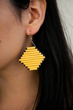 """""""Each handmade, upcycled piece is unique in its exact colors, and was purchased at fair trade prices from our partners in Uganda, helping them pursue their dreams. Paper Bead Jewelry, Paper Beads, Diy Jewelry, Jewelry Making, Fabric Earrings, Paper Earrings, Macrame Earrings, Quilling Earrings, Quilling Jewelry"""