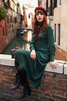 The Green of Venice Furla, Miss Pandora, Beret Outfit, Louise Ebel, Bow, 50s Dresses, Burgundy, Stockings, Clothes For Women