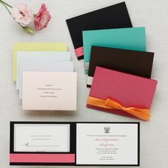 Invitations...mine would be in a mauve with a green ribbon