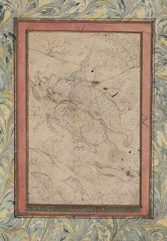 """Un """"lion"""" sautant sur un kylin   by persian.painting"""