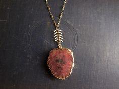 Druzy Necklace,Raw Stone Jewelry,Geode Slice Necklace,Solar Quartz,Long Geode Necklace,Geode Necklace,Druzy Necklace,Raw Crystal Necklace by OneTribeJewelry on Etsy https://www.etsy.com/listing/257865339/druzy-necklaceraw-stone-jewelrygeode