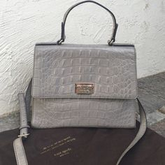 "Kate Spade Grey Textured Leather Purse Classic, trendy, beautiful, and chic! Statement piece with just the right amount of interest. Top handle and shoulder strap. Measures 9""X11"". Comes with dust bag. kate spade Bags Satchels"