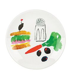 kate spade new york All in Good Taste Sandwich Art Stoneware Coupe Accent Salad Plate #Dillards