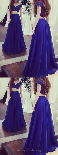 Lace Prom Dresses,Blue Prom Dresses, Two Piece Prom Dresses, 2018 Prom Dresses For Teens, Chiffon Prom Dresses V-neck, Long Prom Dresses A-line #eveningdress #bluedress