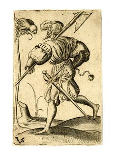 Playing-card, jack of parrots -- Copy made after Virgil Solis, c.1550